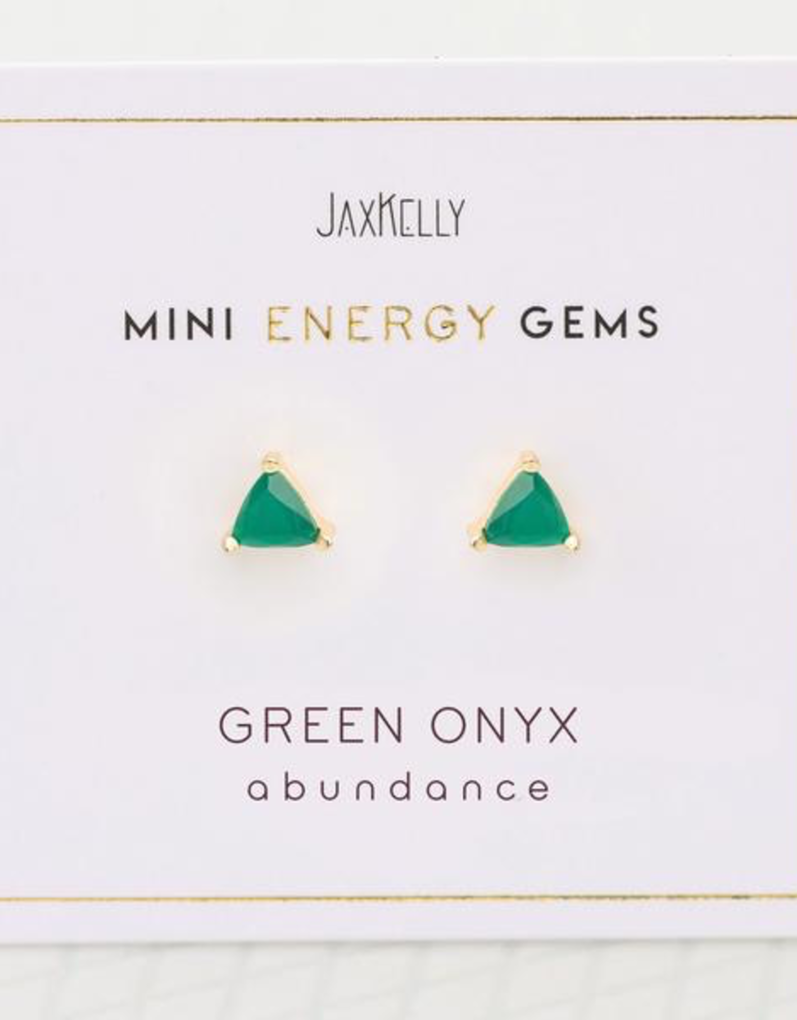 Earrings, Mini Energy Gem, Green Onyx, Sterling Silver Base with18k Gold Plating