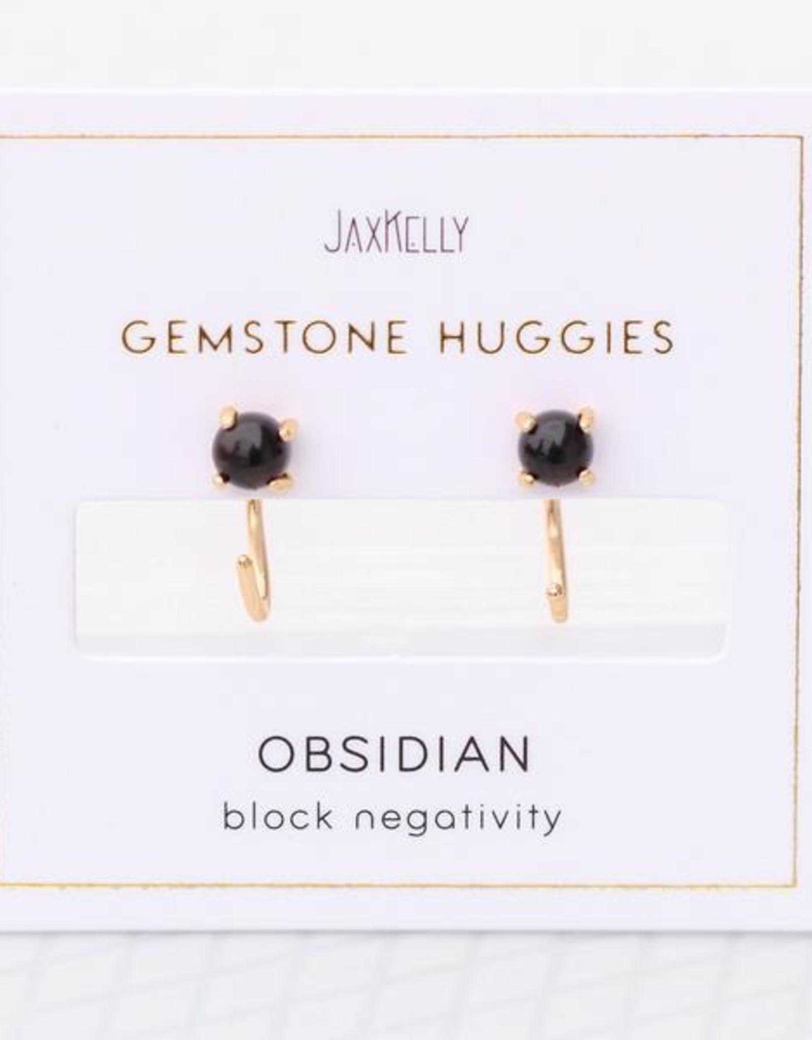 Huggie Earrings - Obsidian