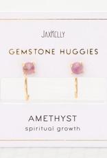 Earrings, Huggie, Amethyst, Sterling Silver Base with18k Gold Plating