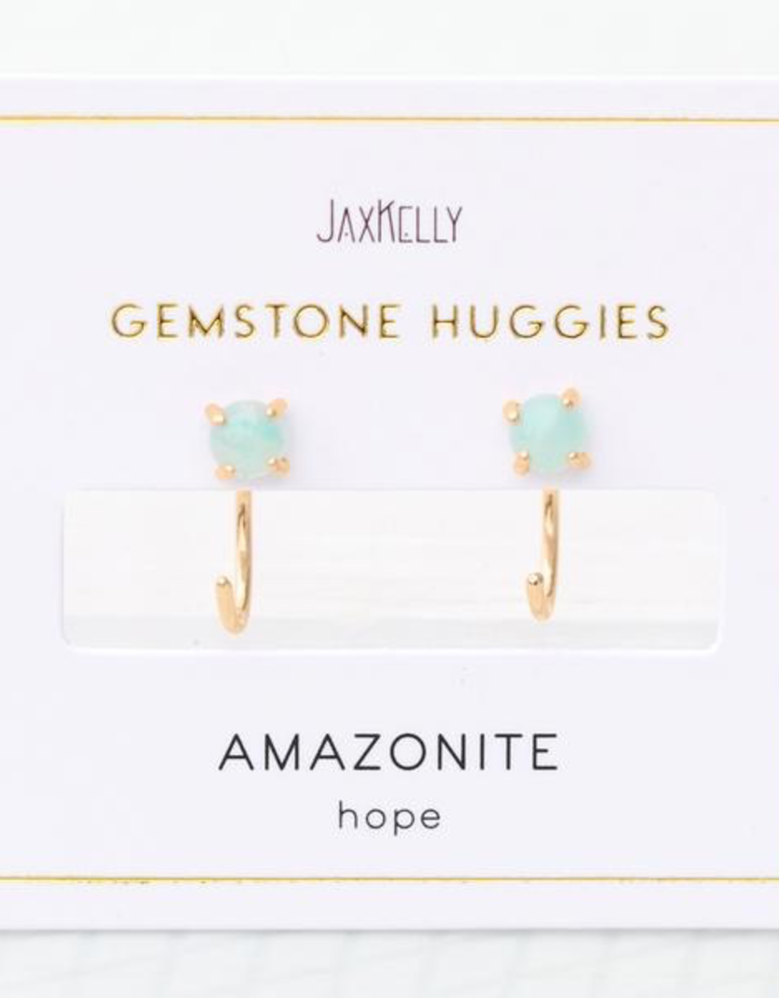 Earrings, Huggie, Amazonite, Sterling Silver Base with18k Gold Plating