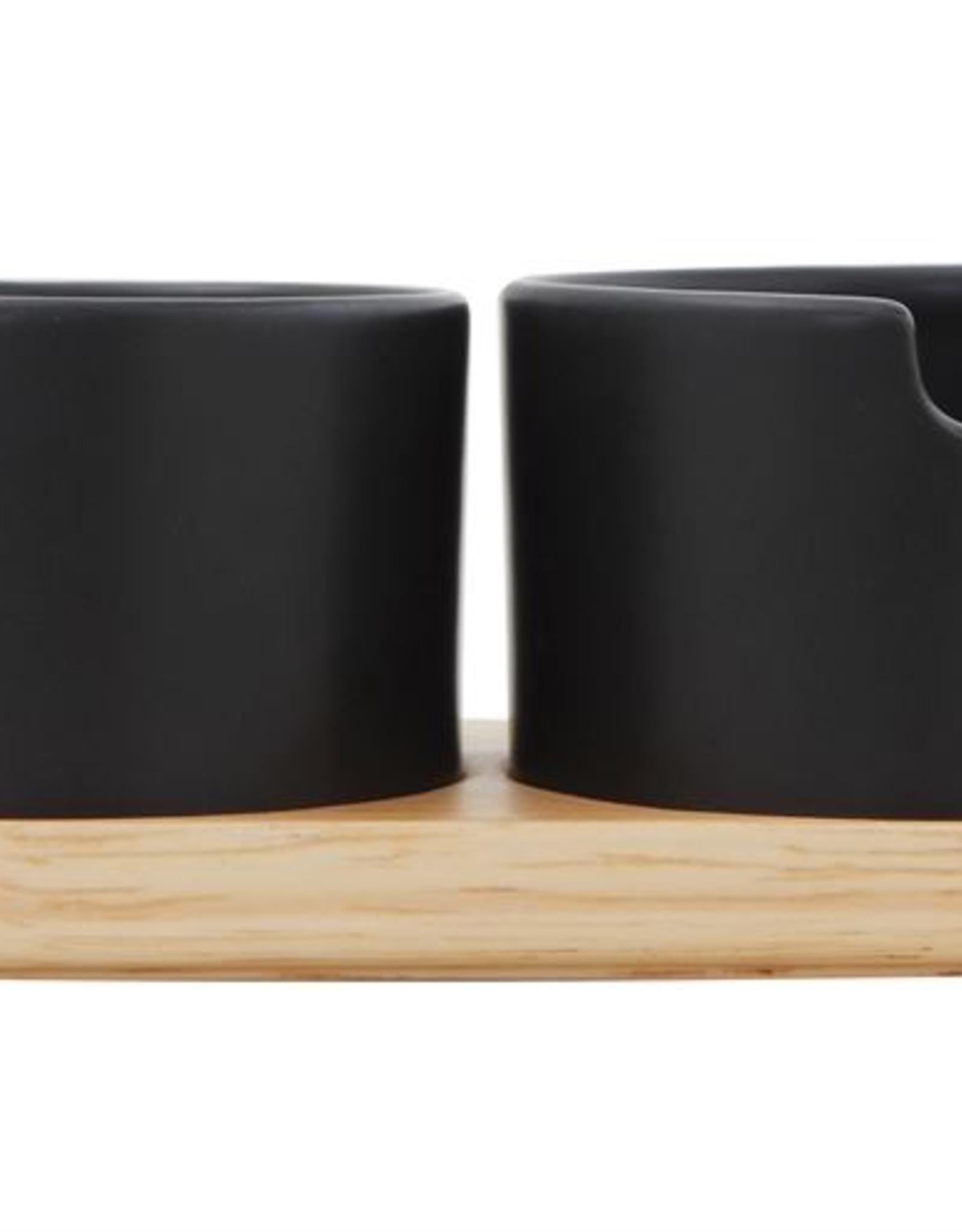 Black Creamer & Sugar with Wood Tray