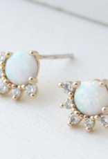 Earings, Stud, Opal/Gold, Juno Sterling Silver Posts, Gold-plated Brass, Cubic Zirconia, Simulated Opal