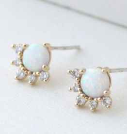Gold Plated Brass Opal/Gold Stud Juno Earrings