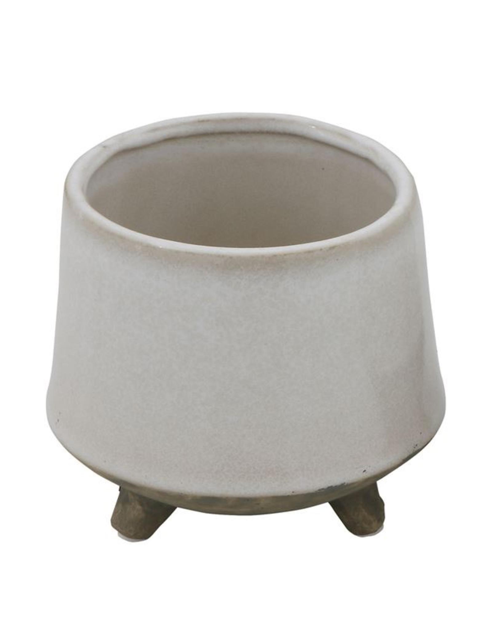 """Planter, Stoneware with Feet, White, Small, 5"""""""