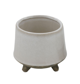 Planter, Stoneware with Feet, White, Small, 5""