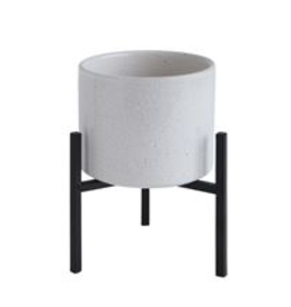 """White Stoneware Planter with Black Metal Stand D5"""""""