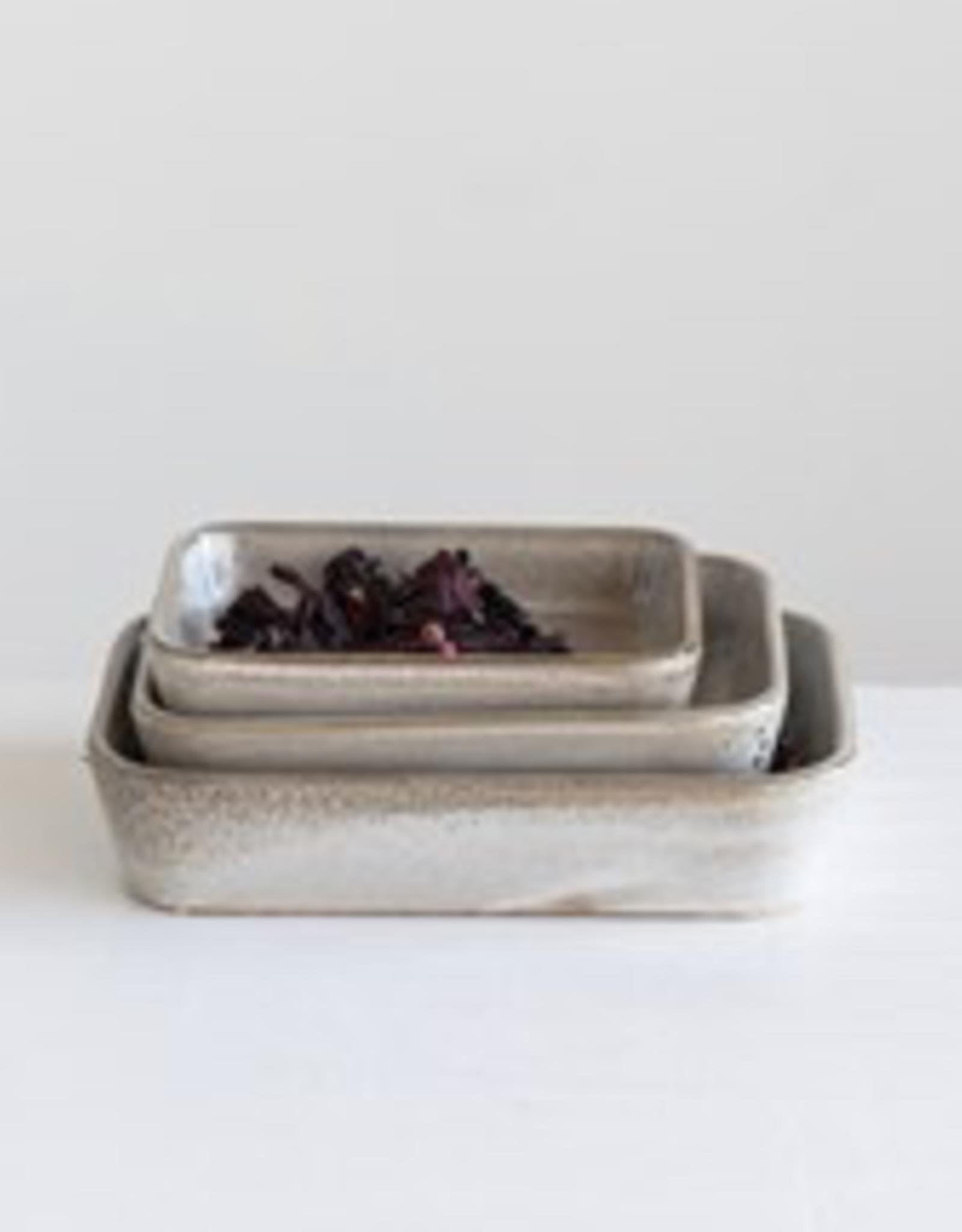 Stoneware Dish w Reactive Glaze, Beige, Large