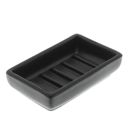 Luna Rectangular Soap Dish Matte Black Ceramic