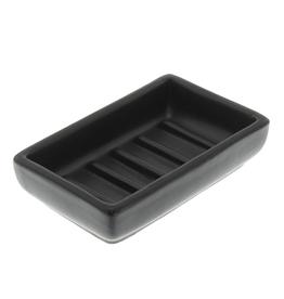 Luna Rectangular Soap Dish Matte Black Ceramic