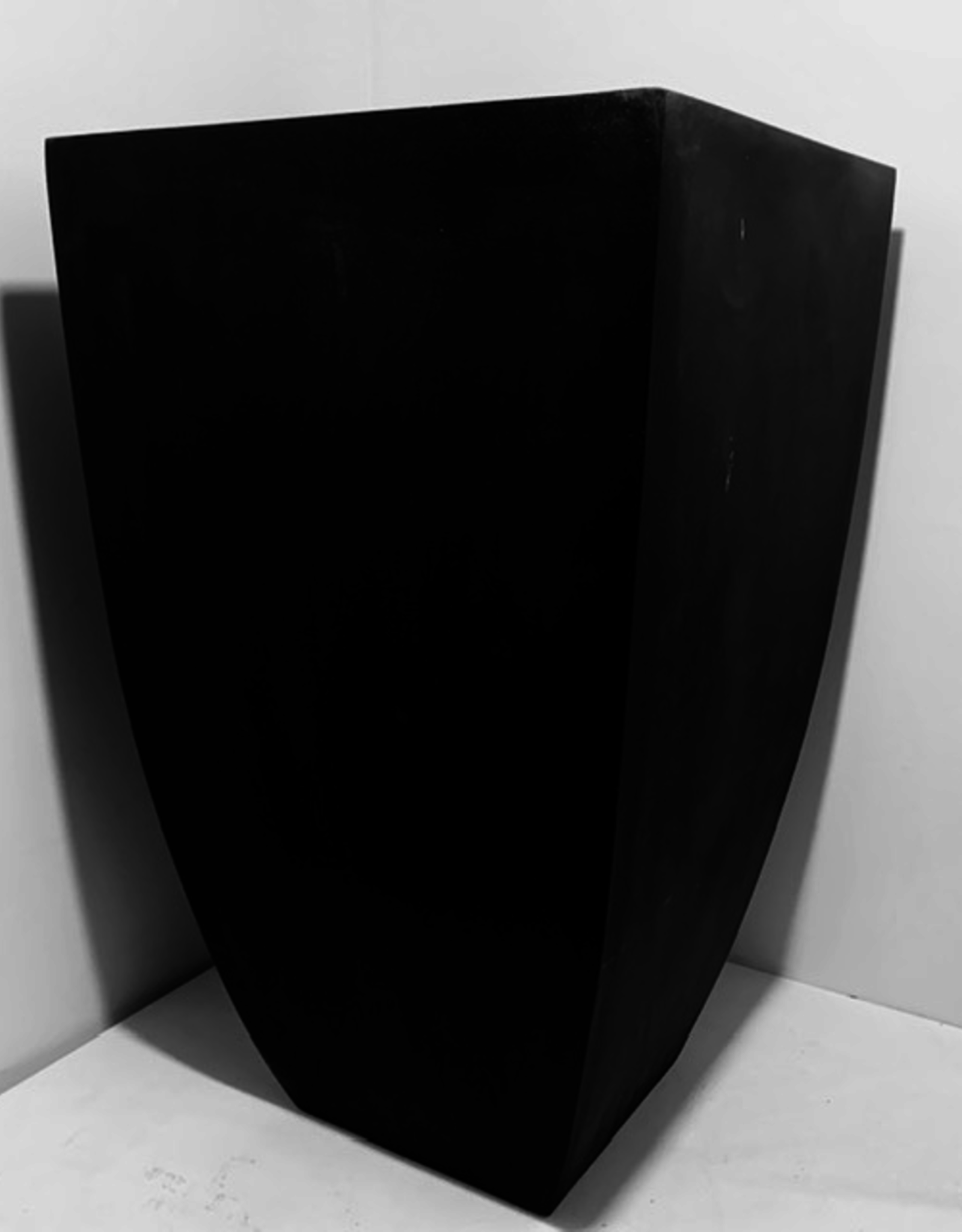 """Planter, Fibrestone Black, Square Top, Tapered with Rounded Edges L17"""" W17"""" H33"""""""