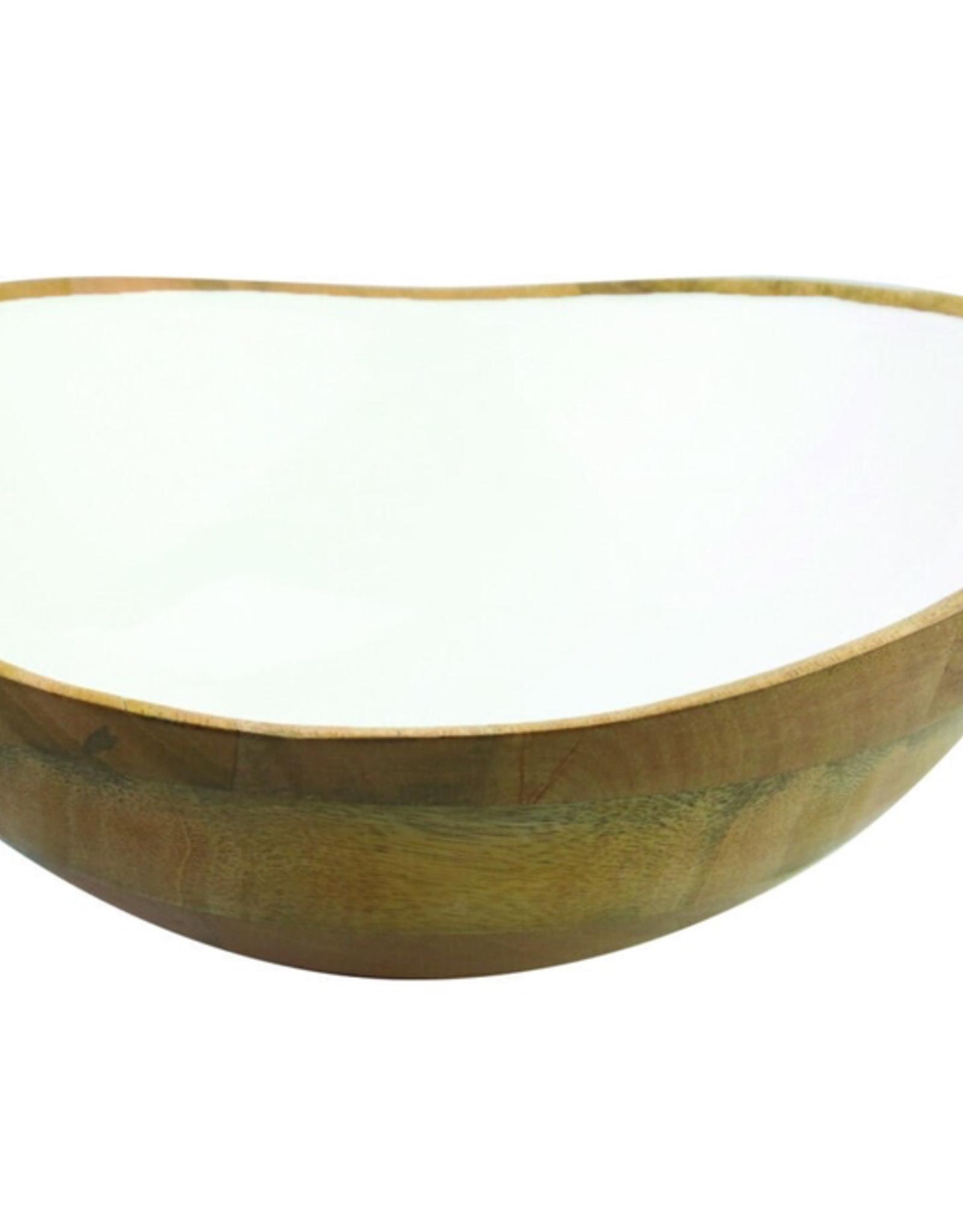"""Mango Wood & White Enamel. Bowl D11"""" H4"""""""