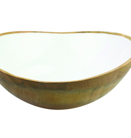 "Mango Wood & White Enamel. Bowl D11"" H4"""