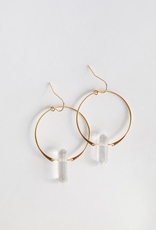 Clear Quartz Hoop Earrings 18K Gold Plating over Sterling Silver