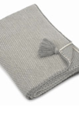 "Cotton Throw, Jordan Light Grey Pom Pom, L50"" W 60"""