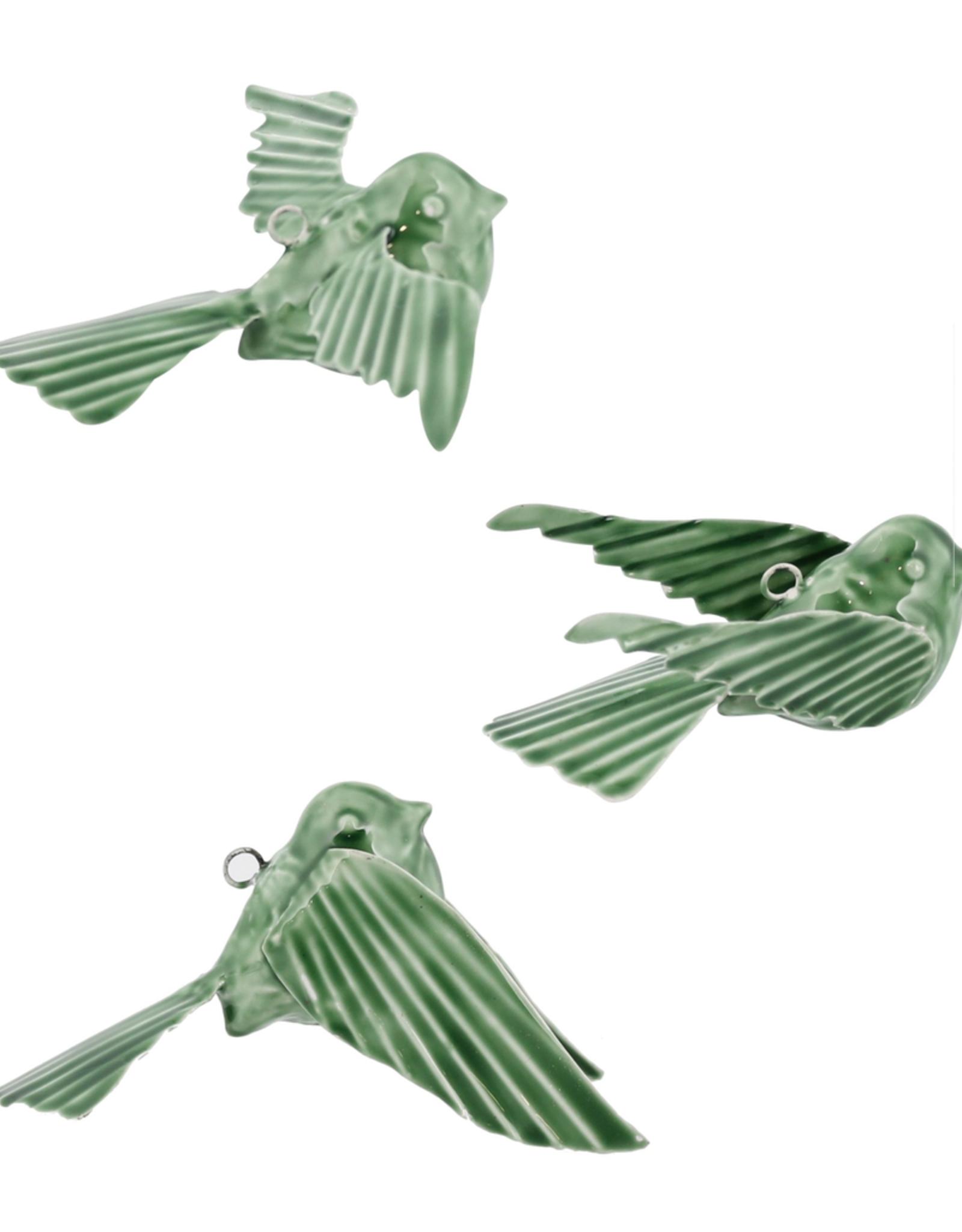 3 Styles Tilda Enamel Green Birds
