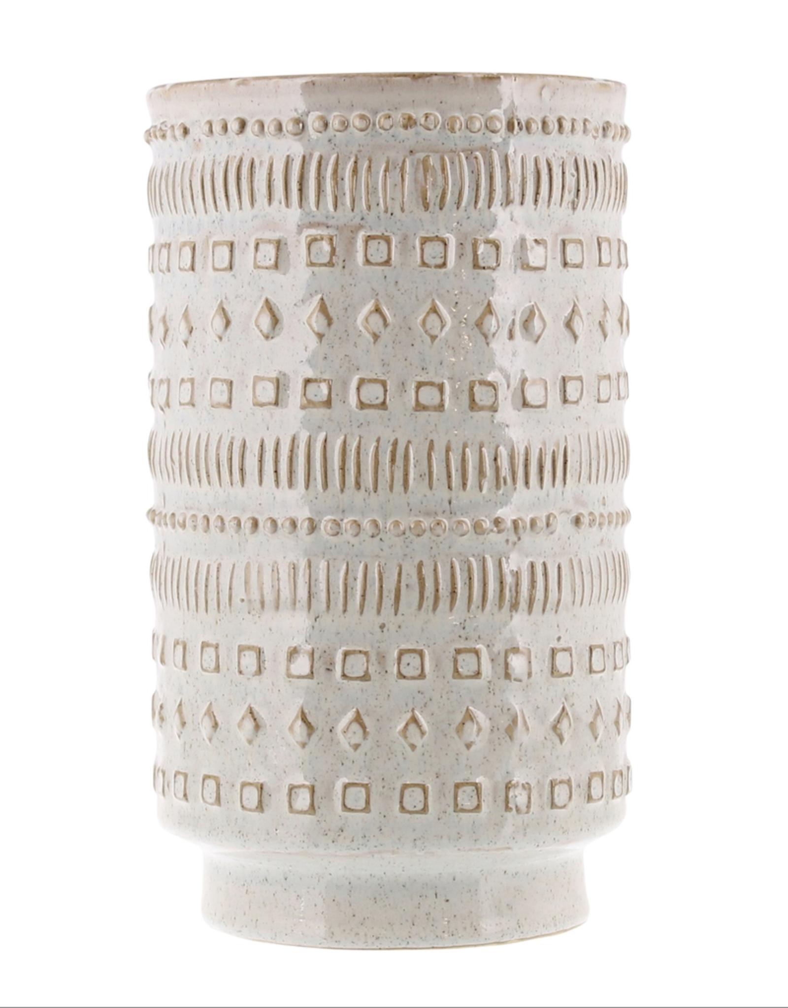 "Patterned Peru Vase Creamy White Glaze 10"""