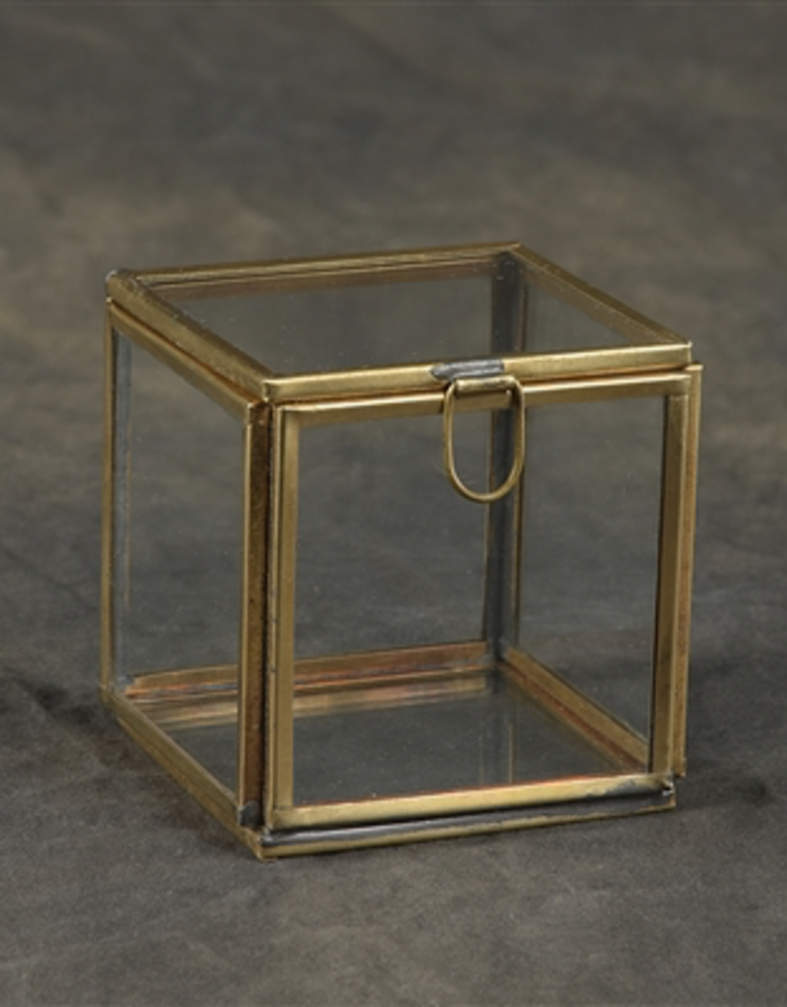 Pierre Glass Box, Demi Leaded, Small, Brass
