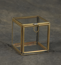 Pierre Glass Box, Demi Leaded, Small, Brass