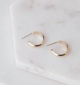 Earring, Silvia Hoop, Gold plated brass