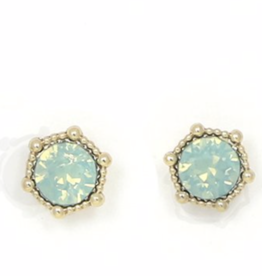 Earring, Astrid Stud, Pacific Opal, Sterling Silver Posts, Gold-Plated Brass, Swarovski Crystal