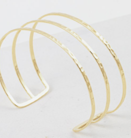 Bangle, Sayla Hammered, Gold Plated Brass