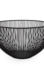 """Basket, Linear Rib, Tall, Black, Metal, D10"""" H5.5"""""""