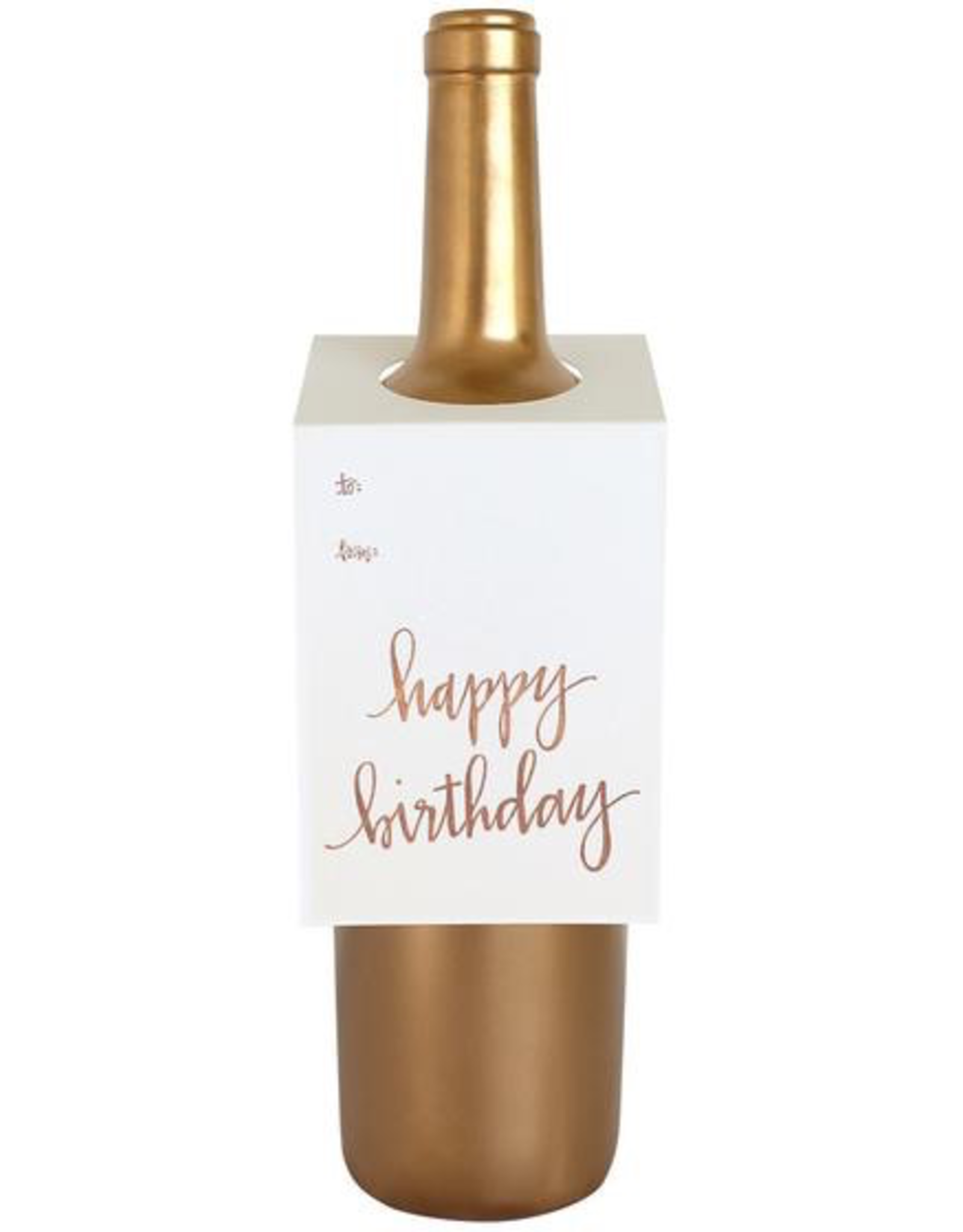 Rose Gold Foil Happy Birthday Wine Tag Card