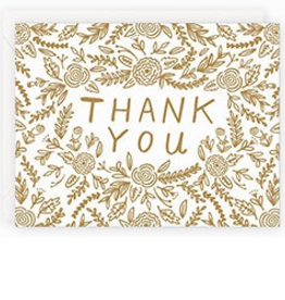 Card, Gold Floral, Thank You