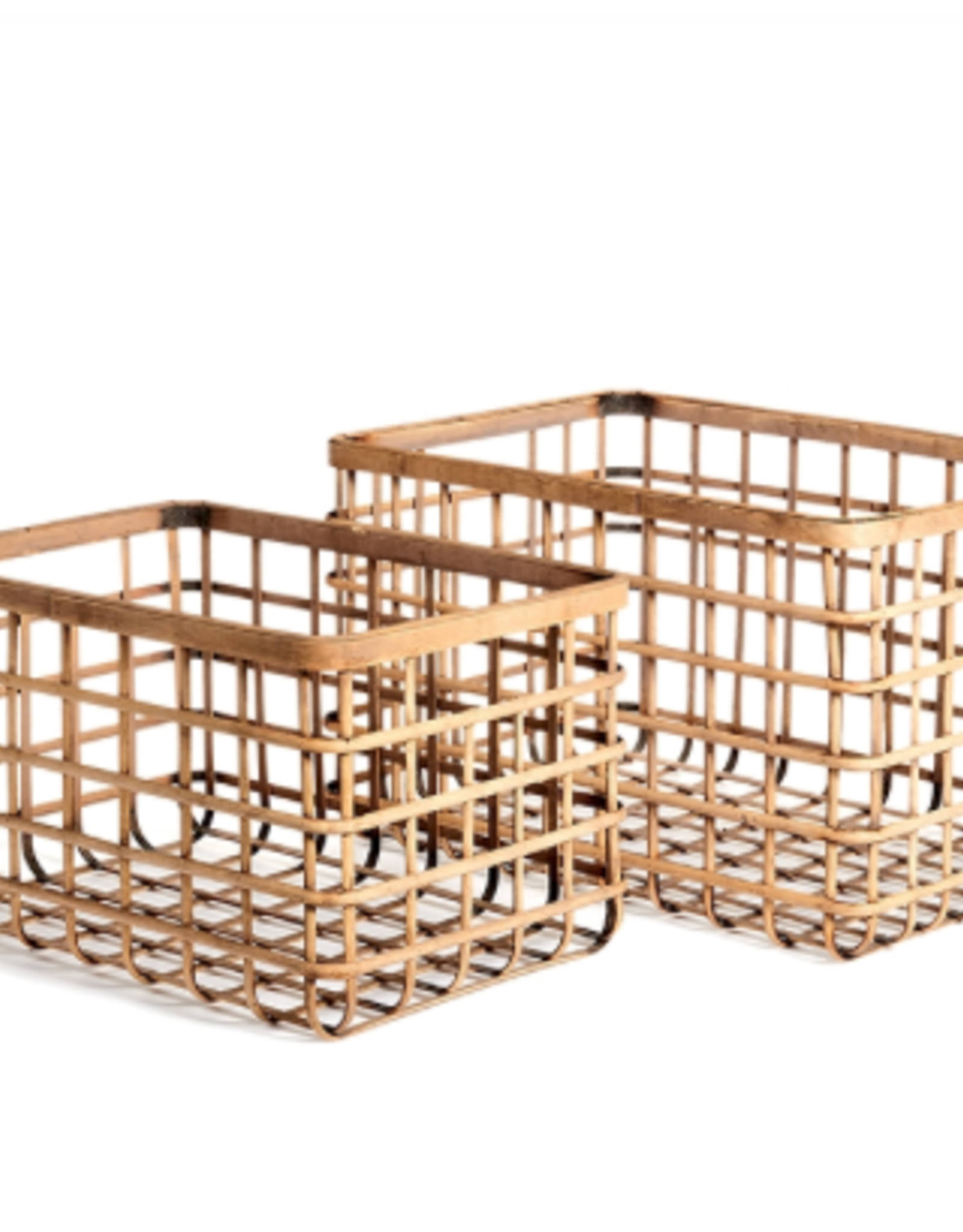 Basket, Natural Bamboo, Rectangula, Lrg