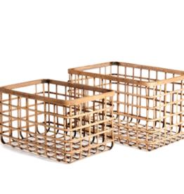 Basket, Natural Bamboo, Rectangula, Lrg