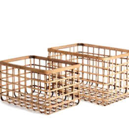 Large Natural Bamboo Rectangular Basket