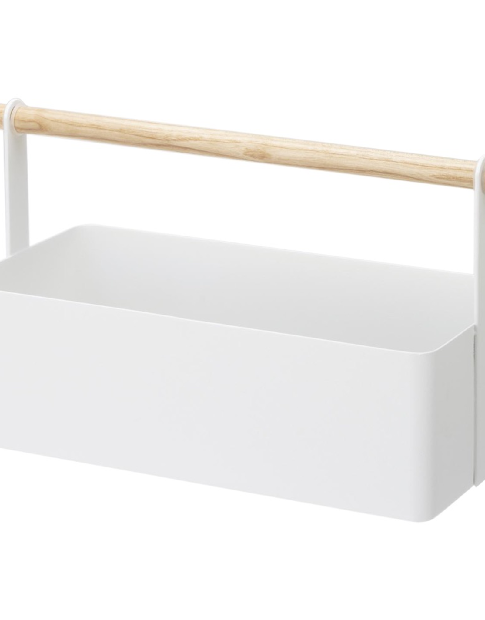 Tool Caddy, Rosca, White Metal with Wood Handle, Large