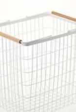 Basket Rectangular, White Metal with Wooden Handles, Large
