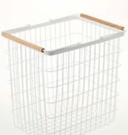 Basket Rectangular, White Metal with Wooden Handles, Large