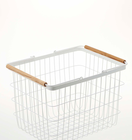 Basket Rectangular, White Metal with Wooden Handles, Medium