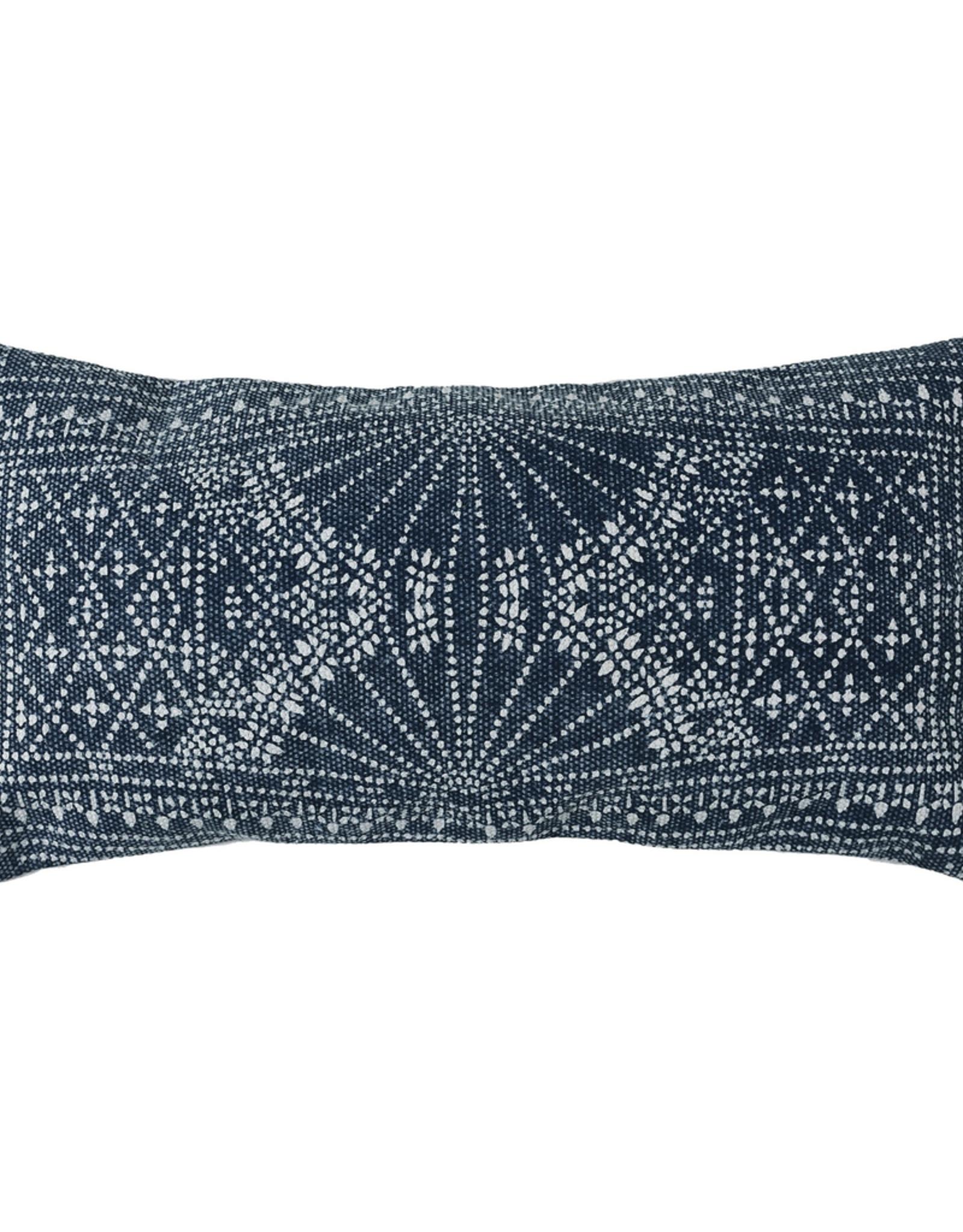 """24"""" Indigo Batik Lumbar Pillow"""