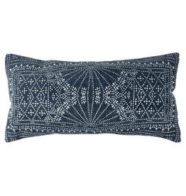 """Pillow, Indigo Batik Lumbar, 24"""""""