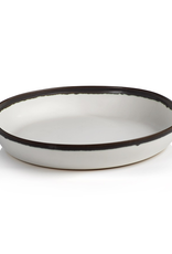 Shallow Bowl, White with Black Rim, Ceramic, D 14""
