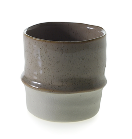 "Pot, Valley, Two Toned, Taupe/White,  3""x3"""