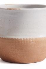 White and Natural Arial Bowl Pot