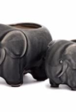 Large Grey Elephant Java Pot