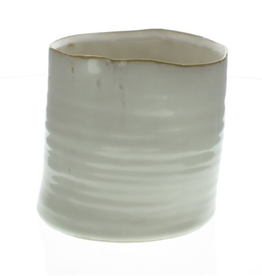 "4.5"" Fancy White Bower Ceramic Pot"