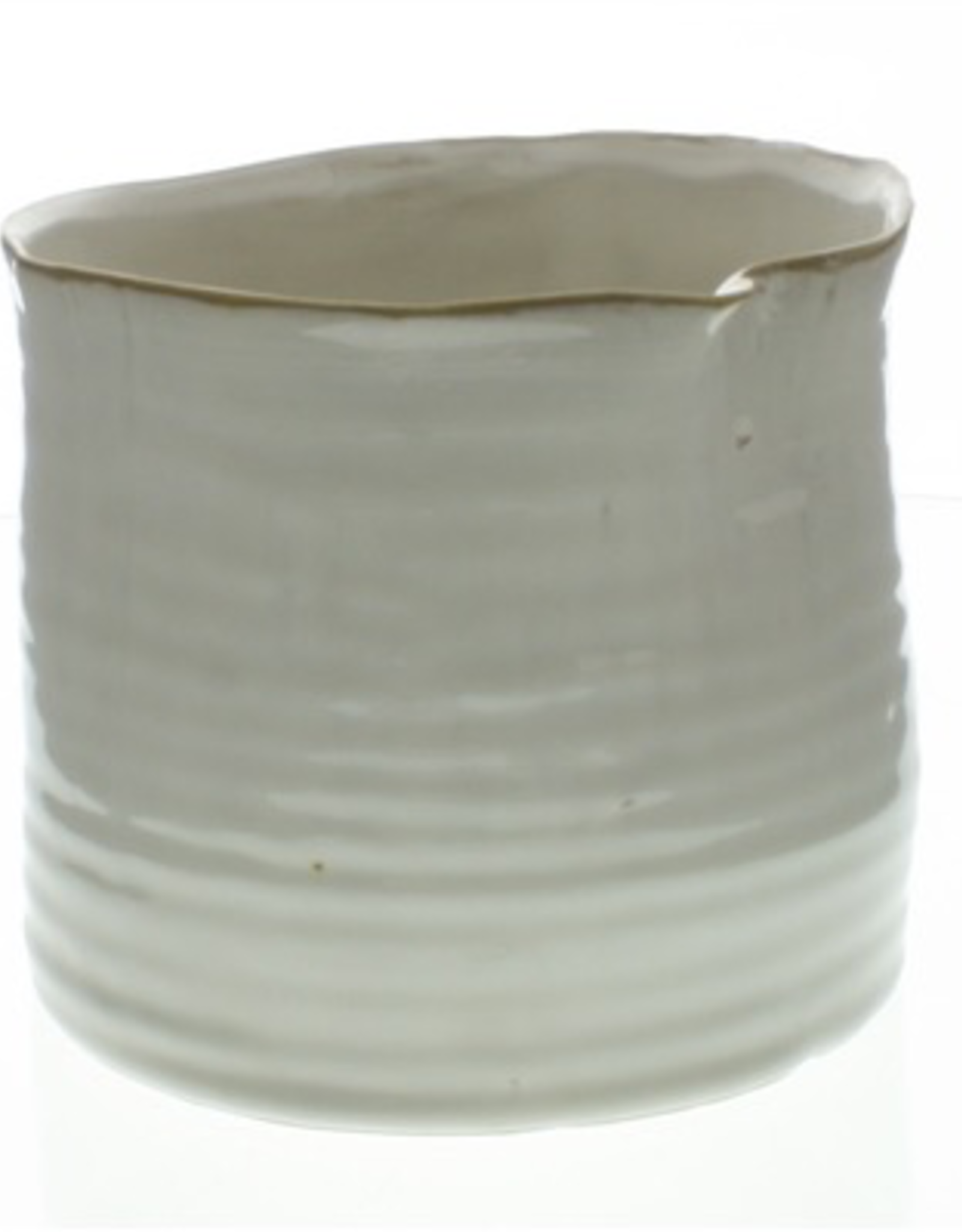 "6x6.5"" Fancy White Bower Ceramic Pot"