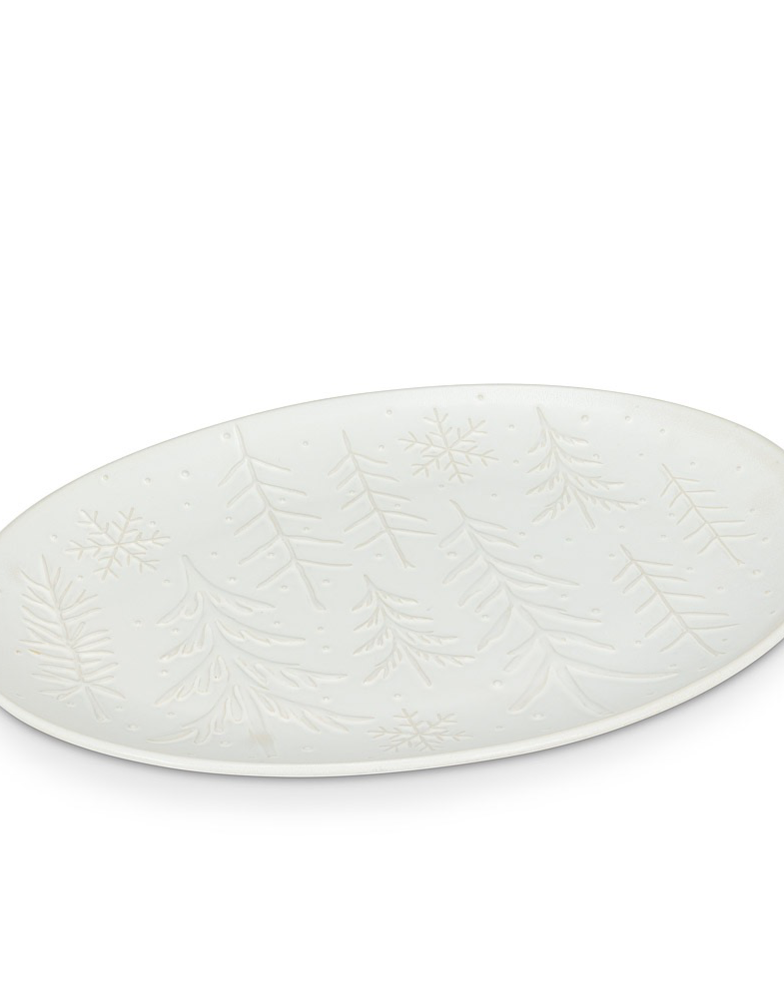 Xmas, Oval Patter, White w Trees and Snowflakes