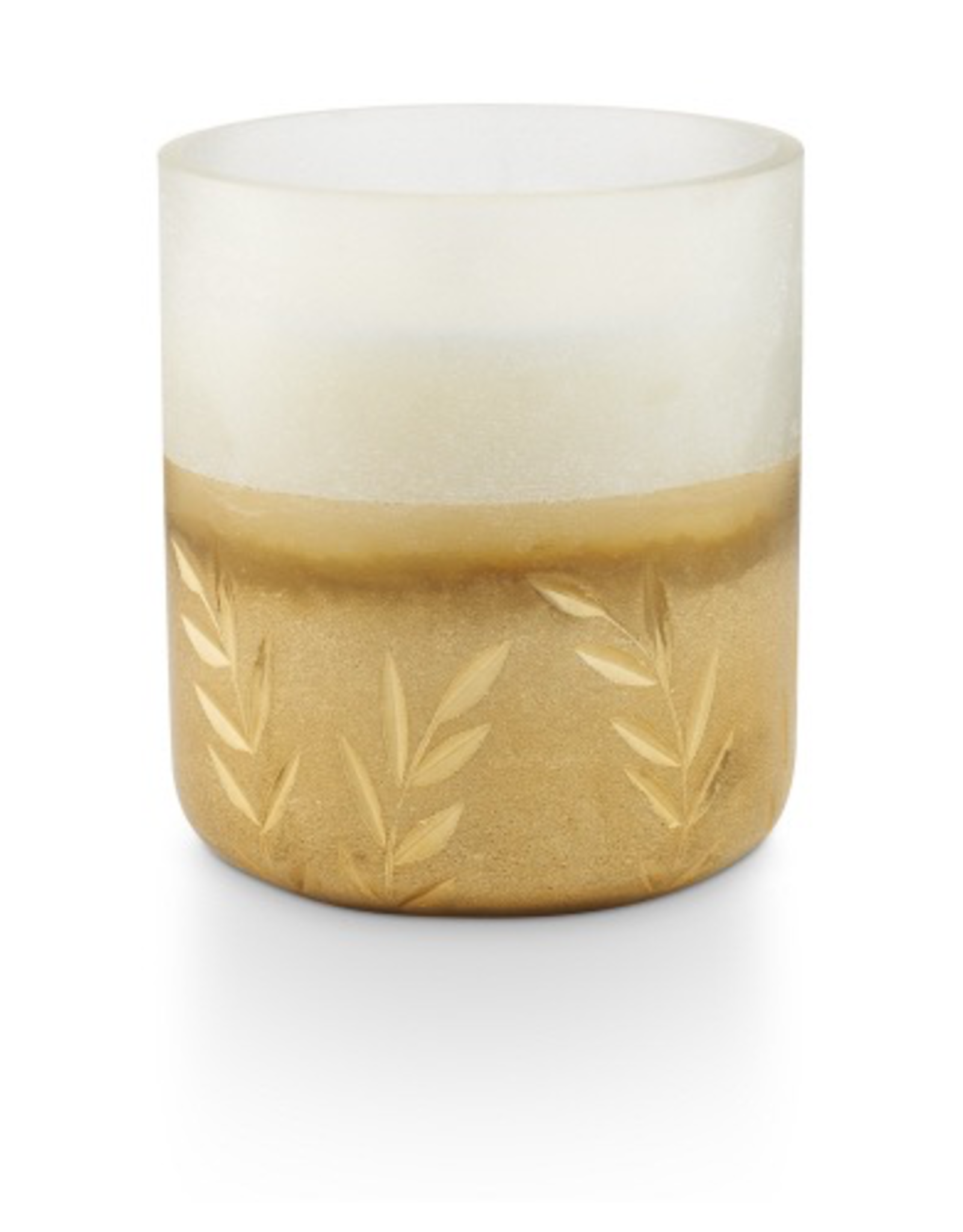 Small Frosted Glass Winter White Candle