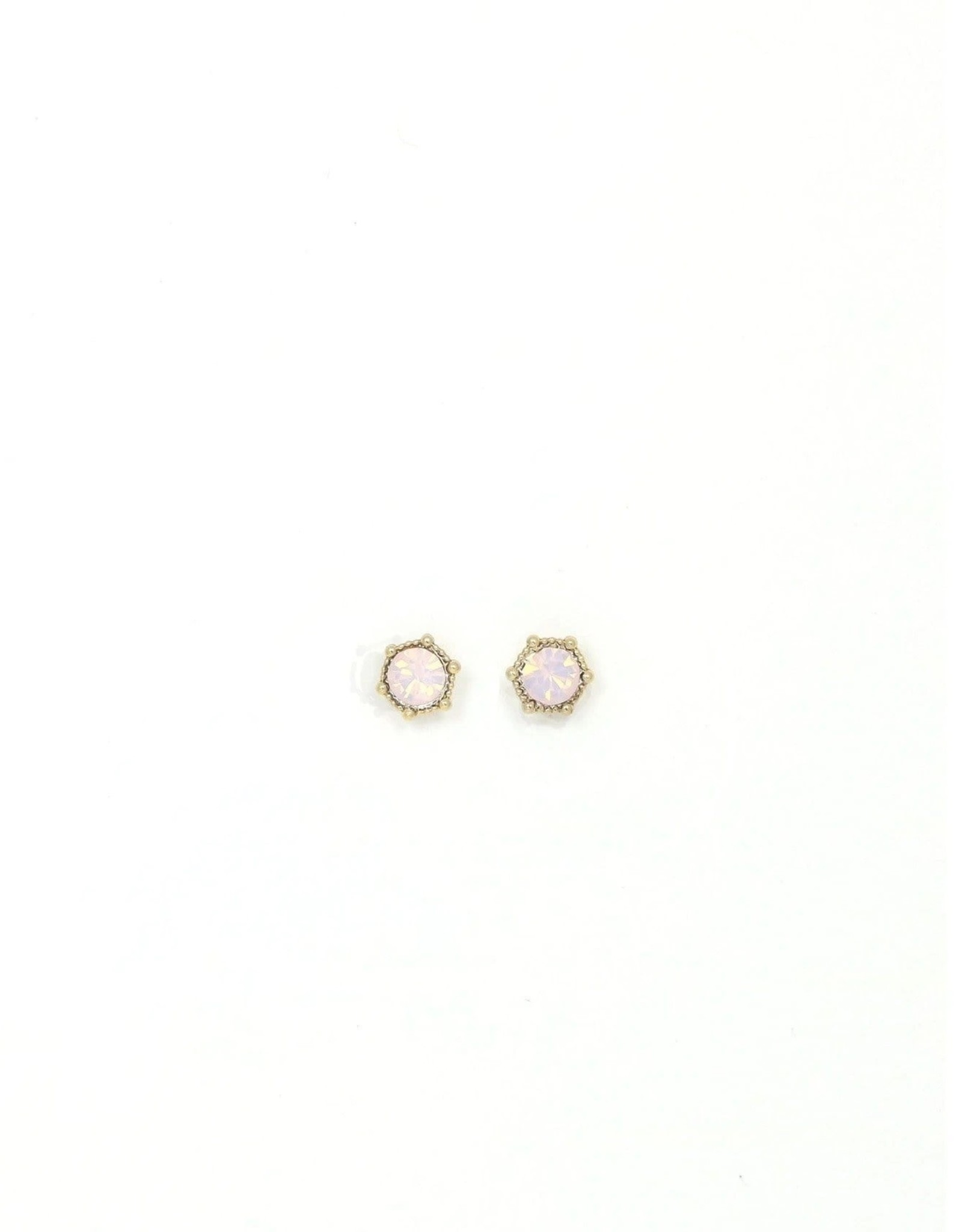 Earring, Astrid Stud, Pink Opal, Sterling Silver Posts, Gold-Plated Brass, Swarovski Crystals
