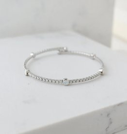 "8"" Silver/White Opal Constellation Bangle"