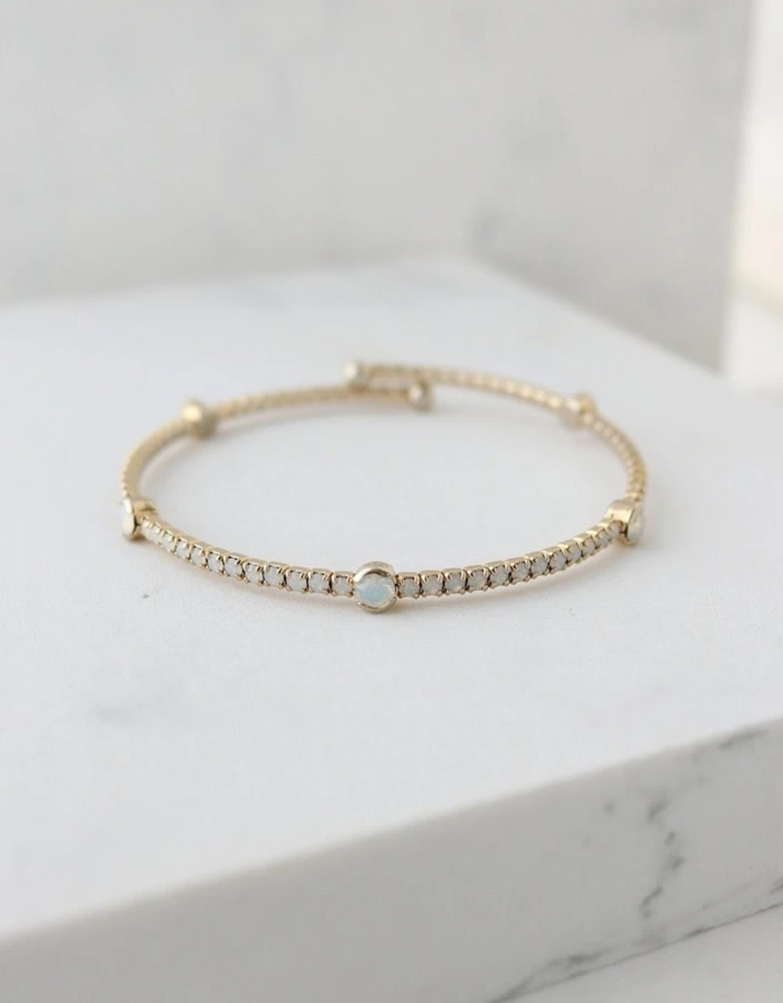 """8"""" Gold/White Opal Constellation Bangle"""