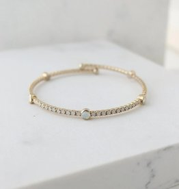 "Bangle, Constellation, Gold/White Opal, 8"" Swarovski Crystals, Gold-Plated Brass"