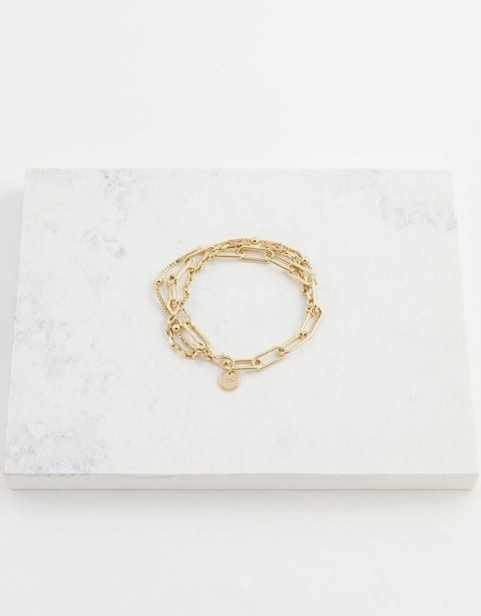 Bracelet, Shay, Gold Plated Brass